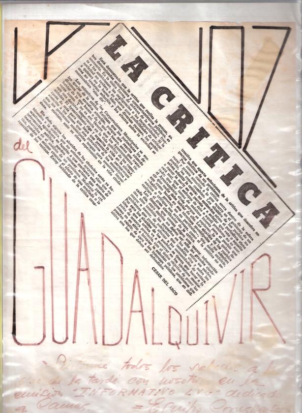 1975.La Crítica.Artículo de César del Arco.Propaganda para promocionar la escucha de nuestro programa en la Voz del Guadalquivir.