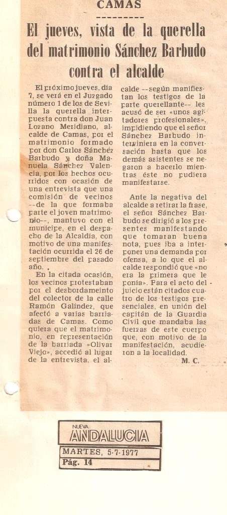 5 de Julio de 1977 Vista de la querella del matrimonio Sánchez-Barbudo contra el alcalde