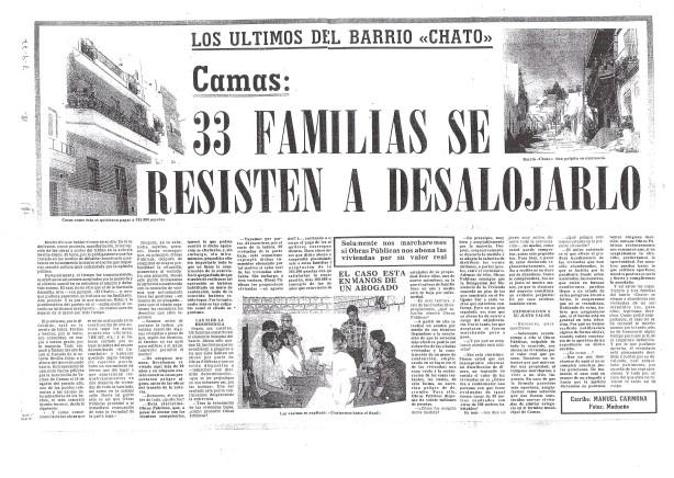 7 de Febrero de 1977. Los últimos del Barrio Chato. 33 Familias se resisten a desalojarlo.