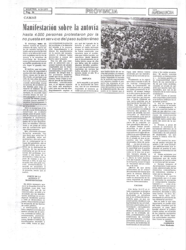 4 de Octubre de 1977. Manifestación sobre la autovía. Hasta 4.000 personas protestaron por la no puesta en servicico del paso subterráneo