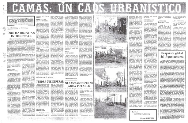 Camas: Un caos urbanistico. Nueva Andalucia. 6 de Diciembre de 1977