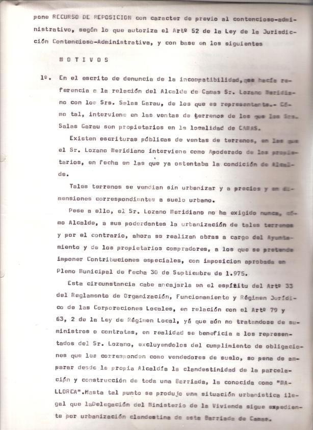 19 de Diciembre de 1975. Recurso de reposición ante el Gobernador Civil por la incompatibilidad del alcalde. 1 de 3