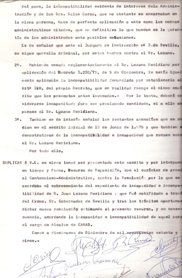 19 de Diciembre de 1975. Recurso de reposición ante el Gobernador Civil por la incompatibilidad del alcalde. 2 de 3