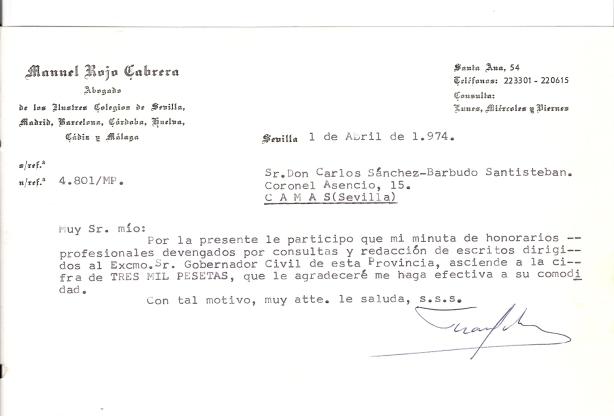 1 de Abril de 1974. Minuta del abogado D. Manuel Rojo Cabrera por sus escrito al Sr. Gobernador, dirigida a Carlos Sánchez-Barbudo