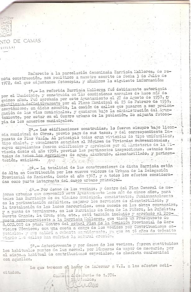 4 de Junio de 1974. Informe sobre determinadas actuaciones que el Ayuntamiento ha realizado en la Barriada Mallorca y que remite al Gobierno Civil.