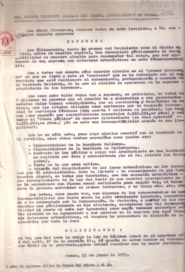 13 de Junio de 1975. Denuncia al 1º Tte. de Alcalde sobre la incompatibilidad del Alcalde para que lo tramite al Gobernador Civil.