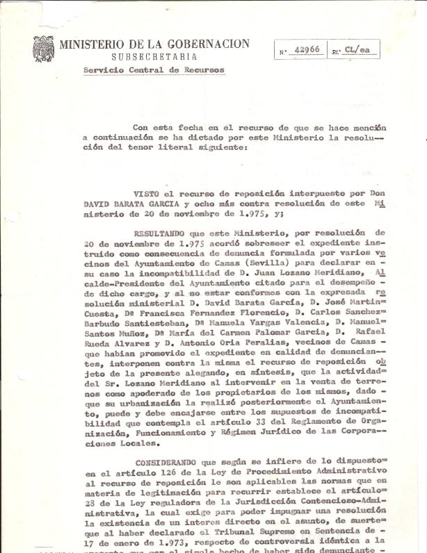 8 de marzo de 1976. Resolución del Minist. de Gobernación no admitiendo nuestro Rec. de Repos. a la incomp. del alcalde por no ser interesados directos. 1 de 2