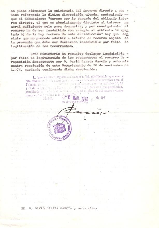 8 de marzo de 1976. Resolución del Minist. de Gobernación no admitiendo nuestro Rec. de Repos. a la incomp. del alcalde por no ser interesados directos. 2 de 2