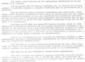 19 de Mayo de 1975. Escritto de los vecinos de los barracones de la Bda. de San Benito al Gobernador Civil.