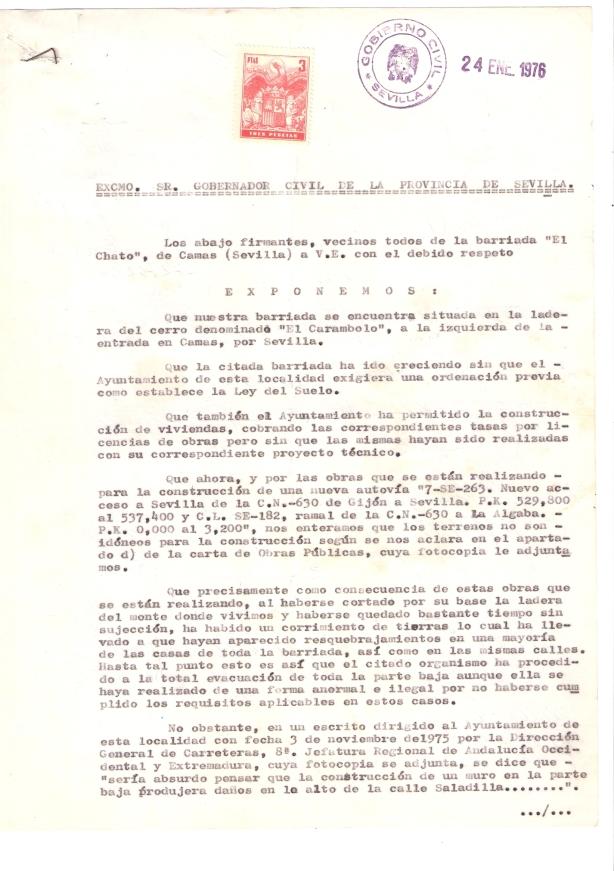 1976. 23 de Enero. Escrito de los vecinos del Barrio El Chato al Gobernador Civil exponiéndoles su problemática. 1 de 2