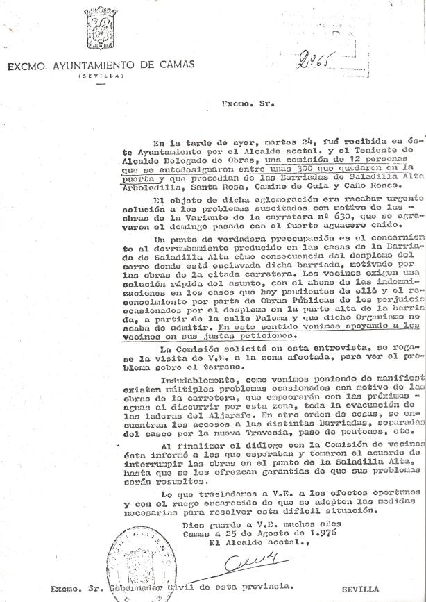 25 de Agosto de 1976. Escrito del Alcalde Accidental al Gobernador Civil dándole traslado de la reunión mantenida con los vecinos manifestantes de Saladilla Alta y otras barriadas.