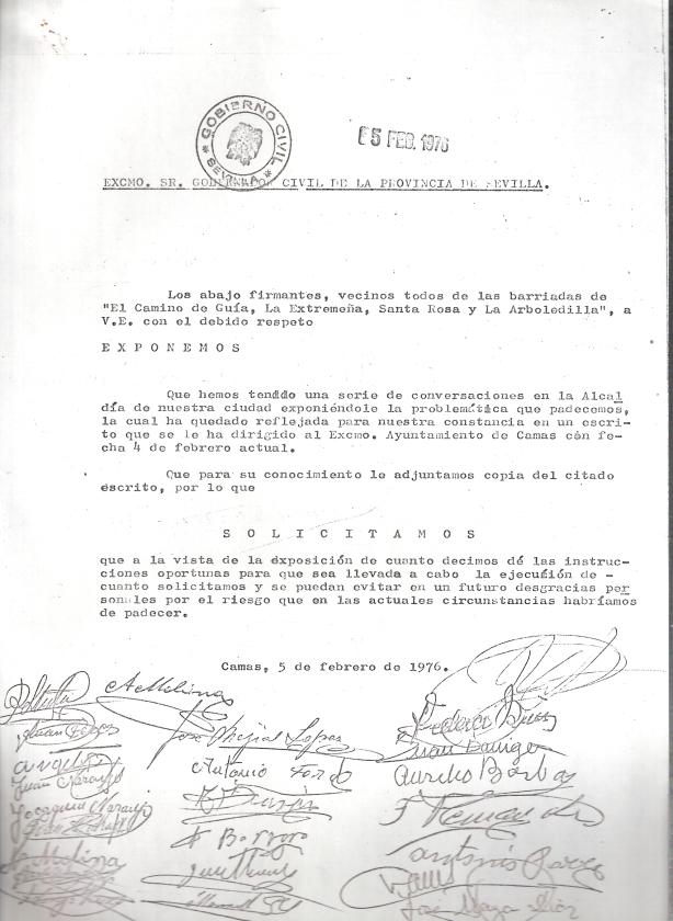 5 de Febrero de 1976. Escrito de los vecinos del Camino de Guia, La Extremeña, La Arboledilla y Santa Rosa al Gobernador Civil