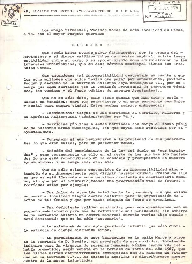 23 de Junio de 1975..Escrito a la alcaldía detallándole los motivos por los que se le pide su dimisión, adjuntando 50 folios con 2.000 firmas. 1