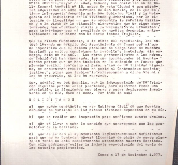 1977. 17 de Noviembre. Escrito de los vecinos de la Barriada de San Benito al Gobernador Civil exigiendo su legalización