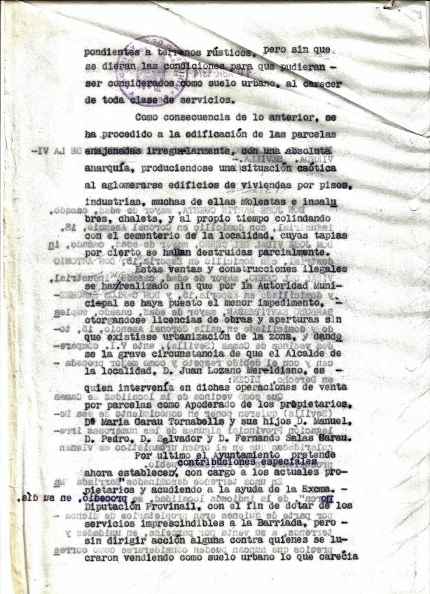 de 1974. Denuncia a la que se refiere el periodista y que fue presentada al Ministerio de la Vivienda por José Martín Cuesta, Antonio Vidal del Cerro y Carlos Sánchez-Barbudo denunciando la ilegalidad de las Barriadas Mallorca y Mallorquina.