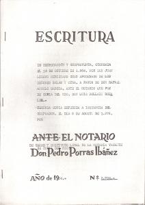 Escritura de segregación y compraventa otorgada el 13 de Octubre de 1964, por Don Juan Lozano Meridiano, como apoderado de los Sres. Salas Garau y otra, a favor de Don Rafael Angulo García.