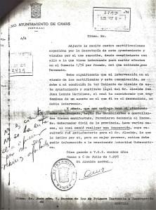 6 de Julio de 1976. Escrito del Alcalde Accidental al Juzgado remitiéndole 4 certificaciones de secretaría sobre cuestiones de la Barriada Mallorca y La Mallorquina.
