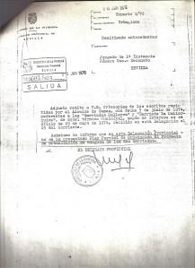 30 de Junio de 1976. Escrito de la Delegación del Ministerio de la Vivienda al Juez de 1ª Instancia adjuntándole los escritos solicitados sobre las Barriadas Mallorca y La Mallorquina.