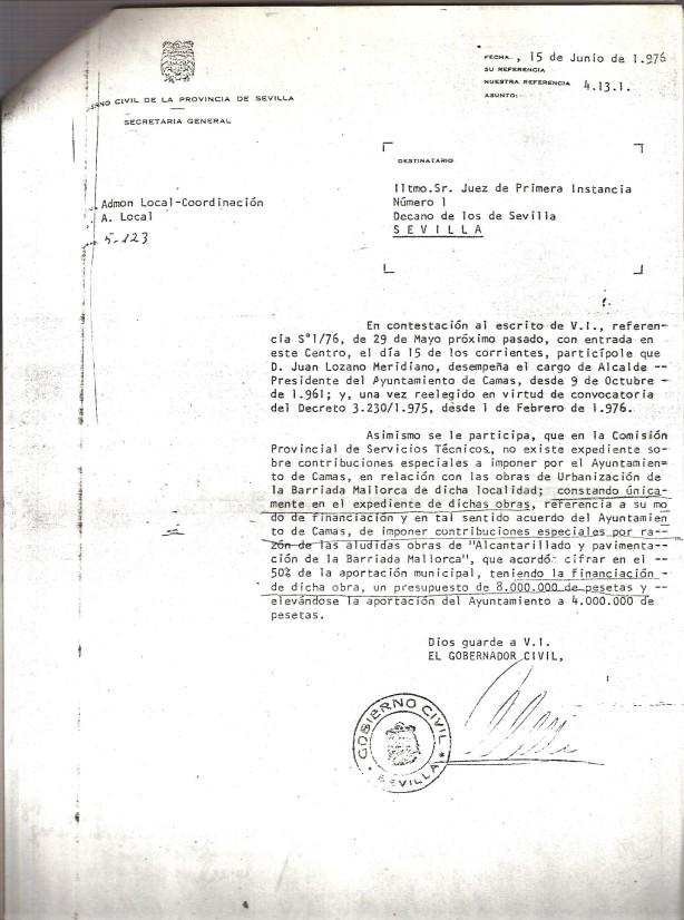 Contestación del Gobierno Civil el 15 de Junio de 1976 al escrito del Juzgado de 29 de Mayo de 1976