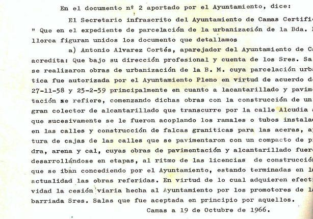 19 de Octubre de 1966.Certificación del Secretario de la Corporación sobre lo que acredita el Aparejador Municipal en cuanto a que bajo su dirección se realizaron las obras de urbanización de la Bda. Mallorca