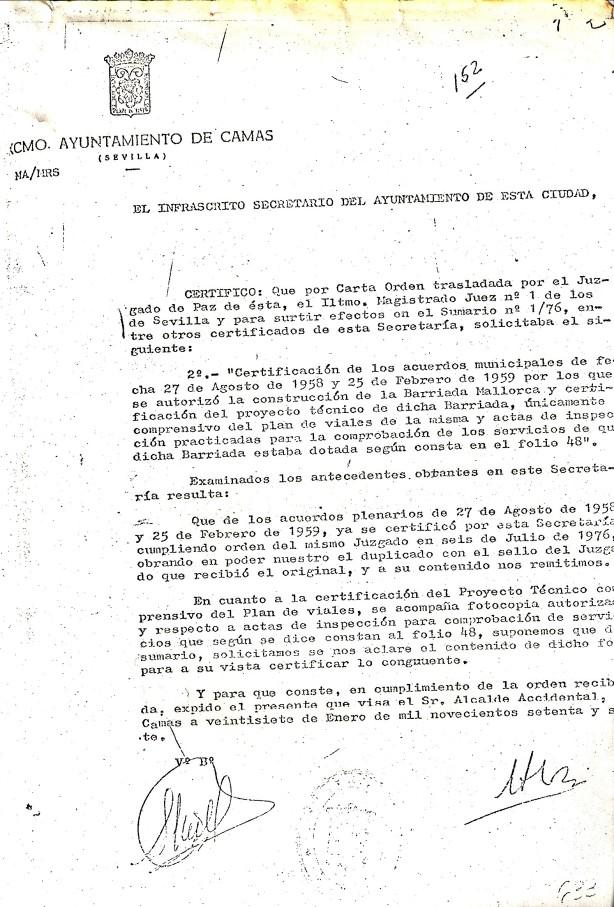 27 de Enero de 1977. Respuesta al Juzgado sobre los acuerdos por los que se autorizó la construcción de la Barriada Mallorca.