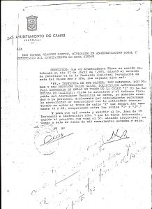 """Acuerdo de fecha 27 de Abril de 1965 por el que se acuerda que la calle """"I"""" de la Barriada Mallorca se convierta de nuevo en solar y pase a los señores salas Garau"""