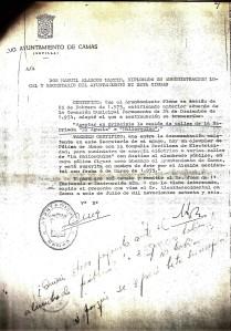 6 de Julio de 1976. Certificación del Secretario de la Corporación sobre la cesión de calles de la Mallorquina y la Póliza de alumbrado público de la misma barriada
