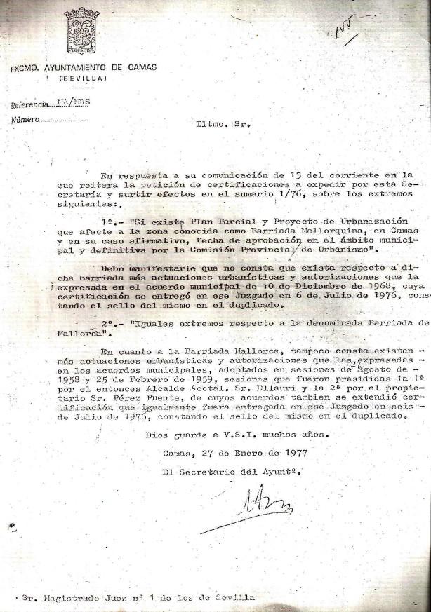 27 de Enero de 1977. Certificaciones sobre inexistencia de Planes Parciales en las Bdas. Mallorquina y Mallorca.