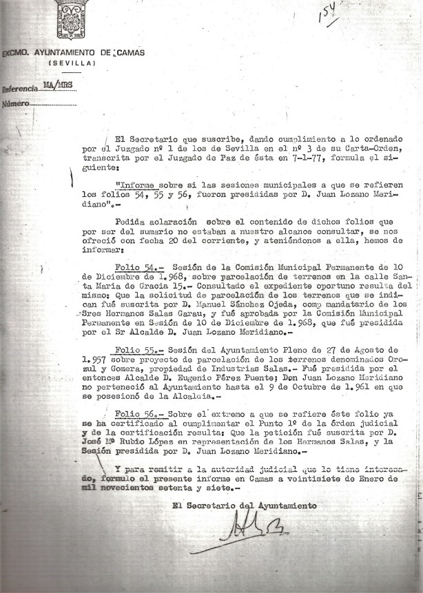 27 de Enero de 1977. Respuesta al juzgado sobre quienes presidieron las sesiones en las aprobaciones municipales de los proyectos de parcelación de las Barriadas de La Mallorquina y Mallorca.