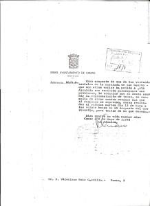 9 de Mayo de 1975. Carta de la alcaldía a Valeriano Ruiz Gordillo emplazándolo a que asista a una reunión con otros 4 vecinos para hablar sobre los barracones.