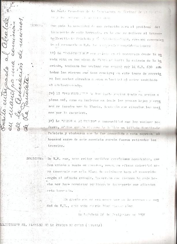 26 de Septiembre de 1976. Escrito de la Asociación de Vecinos de La Pañoleta advirtiendo de posibles accidentes por la situación del transporte, Todo una premonición de lo acontecido.