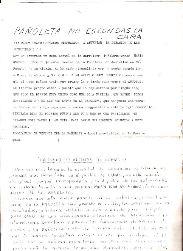 13 de Noviembre de 1976. Comunicado de la Asociación de Vecinos de La Pañoleta convocando a la manifestación por la muerte de una persona en accidente de carretera.