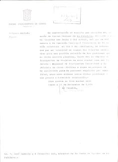 Respuesta del Alcalde al escrito de José Cabello y otros vecinos de La Pañoleta comunicándole que se ha acordado dar trámite a sus peticiones sobre Semáforo con paso de peaotones y