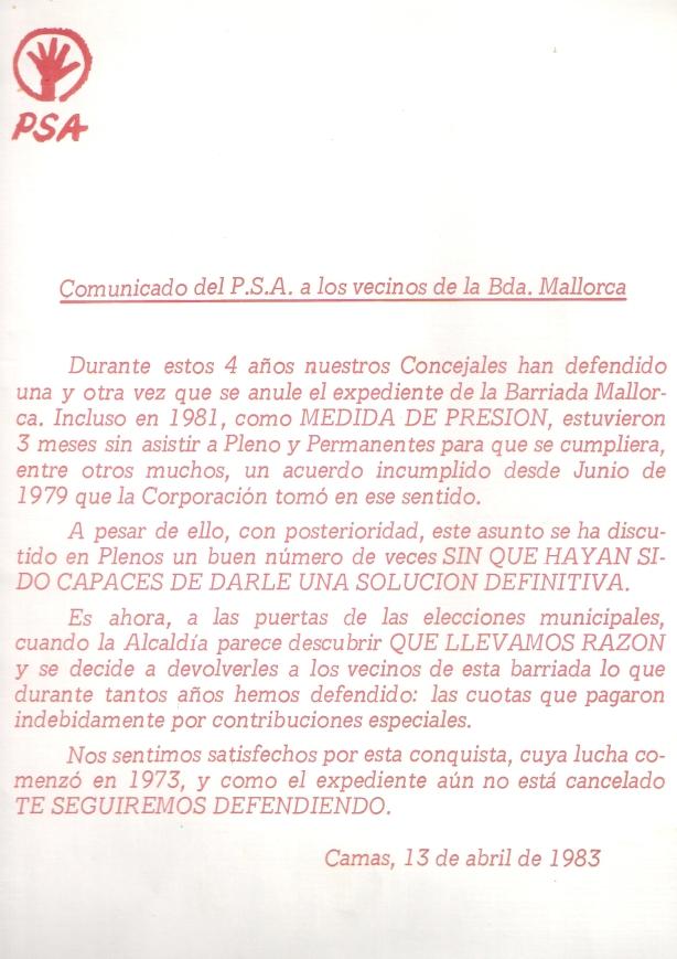 1983, 13 de Abril. Comunicado del PSA felicitándose por la devolución de las contribuciones especiales de la Bda. Mallorca.