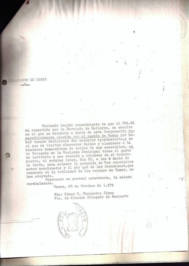 20 de Octubre de 1979. Cita a los vecinos de la Bda. Mallorca del Concejal Delegado de Hacienda para aclarar el porqué de la decisión de un grupo de concejales para que pagasen las contribuciones especiales.