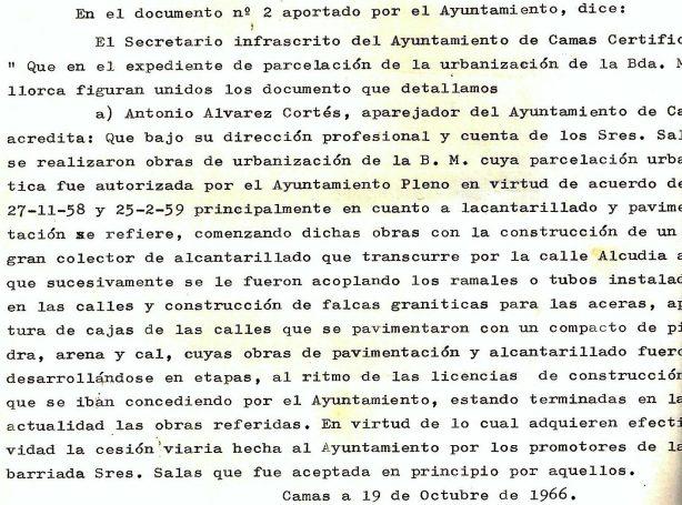 Certificado del Secretario del Ayuntamiento en el que aporta parte del contenido del Aparejador de la parcelación de la Barriada Mallorca.