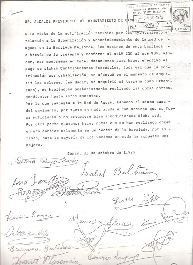 236 vecinos dela Barriada Mallorca se oponen al pago de las Contribuciones Especiales