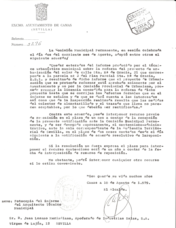 2 de Agosto de 1979. Acuerdo de la Comisión Municipal Permanente revocando un acuerdo anterior para que se corrijan los requisitos acordados por los servicios técnicos y sea aprobado por la Comisión Provincial de urbanismo